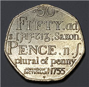 Rare 2005 Johnson Dictionary 1755 50p Fifty Pence Coin Saxon Plural of Penny